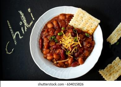 Vegetarian Bean Chili bowl , top down view