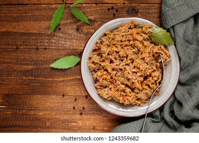 Vegetarian bigos - traditional Polish dish. Diet food. Top view. Healthy food concept.