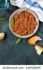 Vegetarian bigos - traditional Polish dish. Top view. Healthy food concept.
