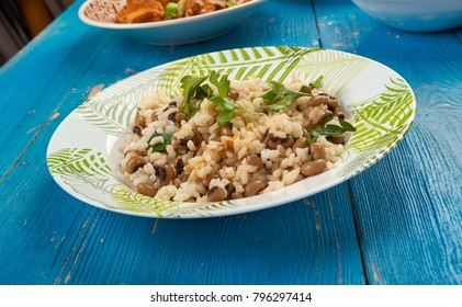 Vegetarian Black Eyed Peas and Rice, close up