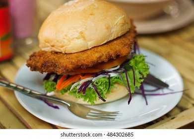 vegetarian burger made from vegetables and breadcrumbs