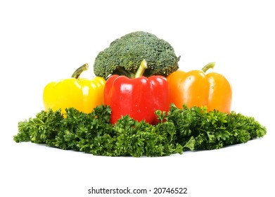 vegetarian composition isolated on white background