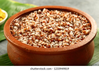 vegetarian food background- organic wild rice with soup- congee or kanji.