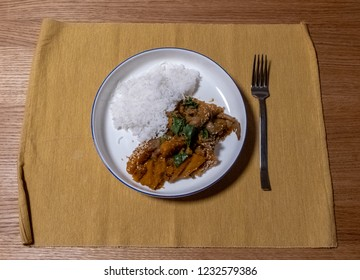 Vegetarian food - Basmati rice with pumpkin-mushroom mix