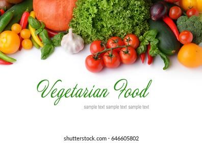 Vegetarian food concept. Fresh vegetables on white background