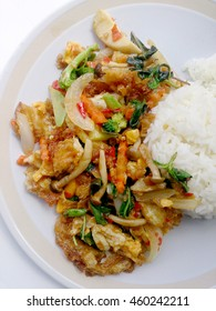 Vegetarian Food with fried egg, vegetable and Light Soya sauce & thai jasmine rice, Healthy food