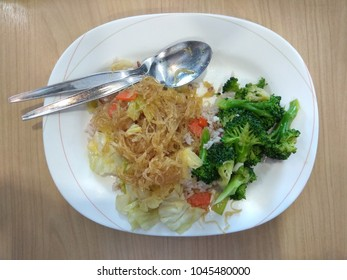 Vegetarian Food, Fried Vermicelli and Stir fried broccoli