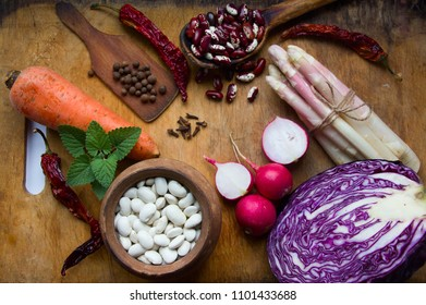 vegetarian food ingredients on the cooking desk flat lay.