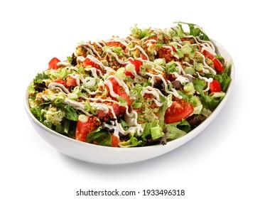 Vegetarisches Essen auf einem großen weißen Teller