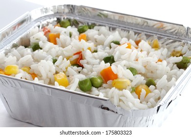 Vegetarian food.Colorful rice and vegetable salad