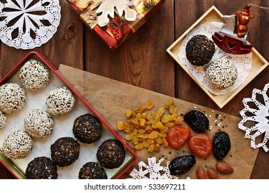 vegetarian foods. festive New Year's table. homemade candy of dried apricots, raisins, nuts, prunes, sesame