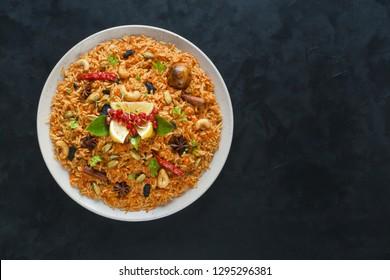 Vegetarian Hyderabadi Dum Biryani. Ramadan food. - Shutterstock ID 1295296381