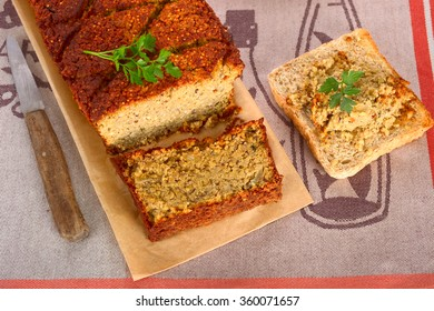 Vegetarian meat loaf with lentils, nuts and quinoa.