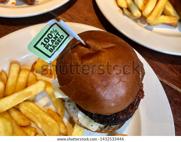 Vegetarian No Meat Plant Based Burger With Chips