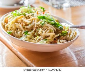 Vegetarian noodles,Wood table