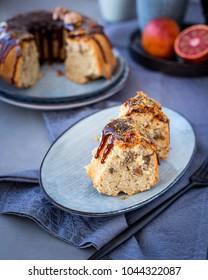 Vegetarian Orange Bundt Cake with Walnut, Caramel Glaze