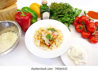 vegetarian pasta with ingredients
