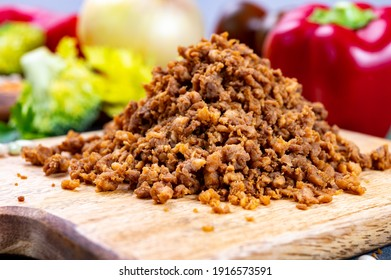 Vegetarian plant based imitation minced soya beans meat ready to eat - Shutterstock ID 1916573591
