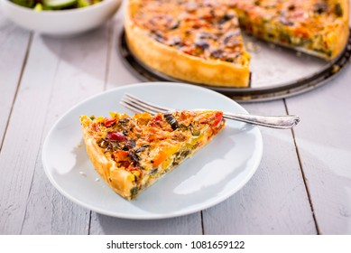 vegetarian quiche on a white dish
