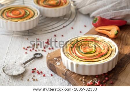 Vegetarian quiche in white