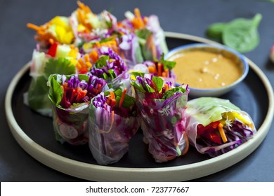 Vegetarian rice paper rolls with peanut butter sauce