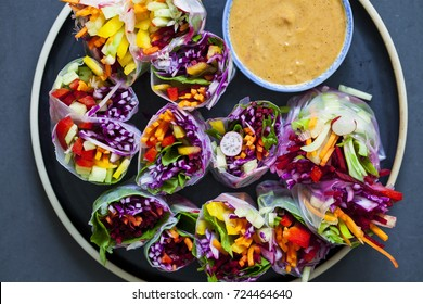 Vegetarian rice paper rolls with peanut sauce