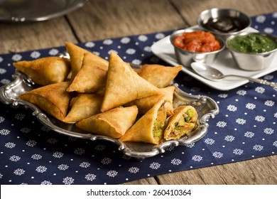Vegetarian Samosas with Dipping Sauces