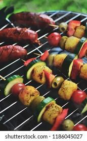 Vegetarian shish kebab on barbecue