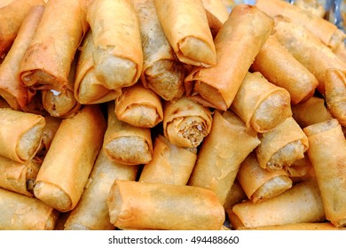 Vegetarian spring rolls Fried vegetarian food sold in China town (Yaowarat), with a range of vegetarian Festival in Bangkok, Thailand