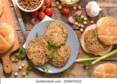 vegetarian steak with lentils and spices