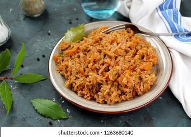Vegetarian and vegan bigos - traditional Polish dish. Top view. Healthy food concept. Diet food.