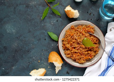 Vegetarian and vegan bigos - traditional Polish dish. Top view. Healthy food concept.