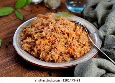 Vegetarian and vegan bigos - traditional Polish dish. Top view. Healthy food concept. Diet food.