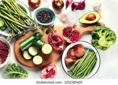 Vegetarian, vegan cooking ingredients. Healthy diet background. Top view. Flat lay