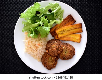 Vegetarian & Vegan Food: Healthy Vegetarian Falafel with Rice and Salad