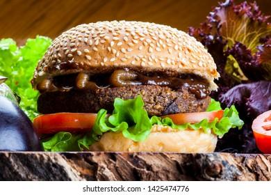 vegetarian vegan hamburger bread with sesame