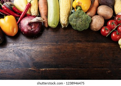 vegetarian vegetables menu on wooden background. space for text
