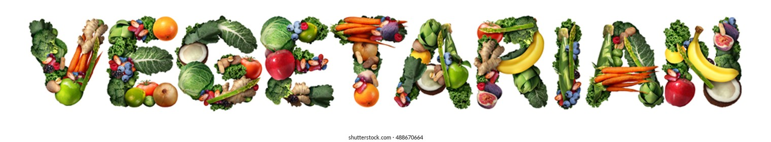 Vegetarian vegetarianism and vegan concept or veganism lifestyle icon as a group of fruit vegetables nuts and beans shaped as text isolated on white as healthy diet symbol for eating natural food.