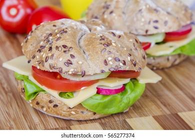 Vegetarian wholemeal sandwich