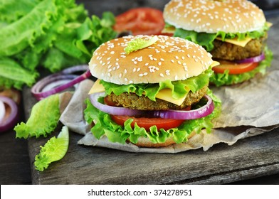 Veggie burger with chickpeas patty, vegan fast food
