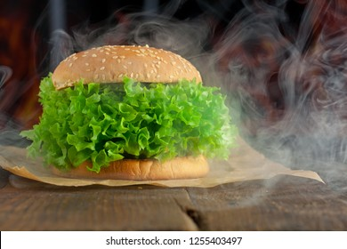 veggie burger with salat and vegetables concept