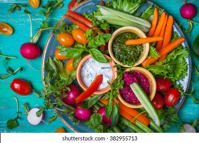 Veggie crudite platter with three different dips