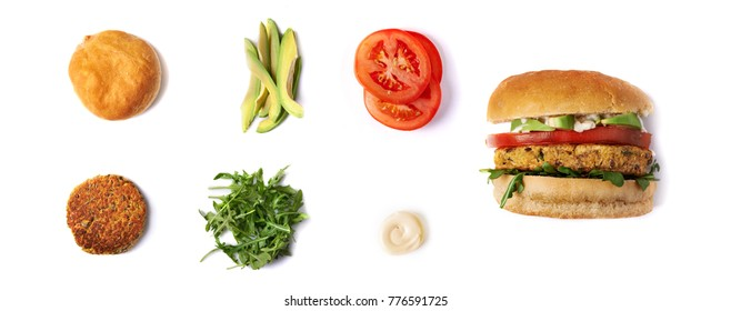 veggie homemade chicpie beurger and ingredients isolated on white background