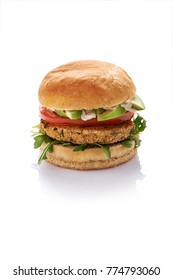 veggie homemade chikpie burger  isolated on white background