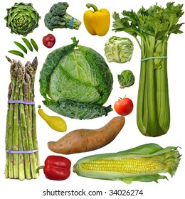 Veggies: A fun collection of vegetables: asparagus, celery, corn, sweet, potato, brussels sprout, pepper squash, sugar snaps, red potato, artichoke, broccoli and lettuce against a white background.