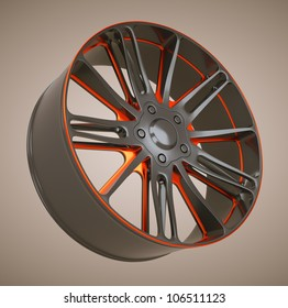 Vehicle alloy disc or wheel. Black and red. Large resolution