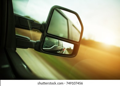 Vehicle Blind Spot Assistance in the Side Mirror of Pickup Truck.