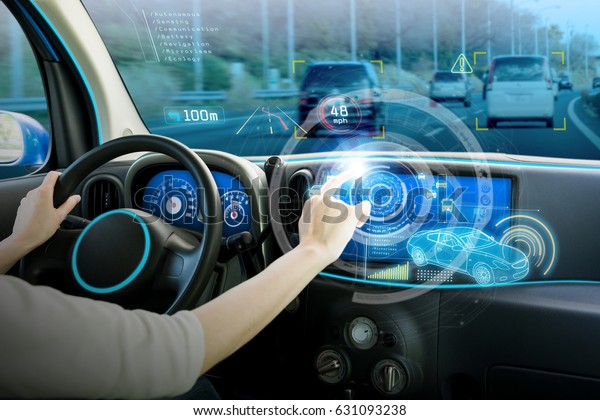 vehicle cockpit and screen, car electronics, automotive technology, autonomous car, abstract image visual