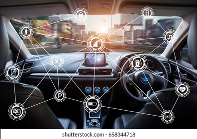 Vehicle cockpit and screen, car electronics,Smart car (HUD) and augmented reality navigation technology concept.Self driving vehicle hands free driving.