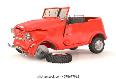 the vehicle costs on the road after accident/the broken 3d car